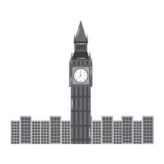 london big ben clock tower famous building city vector illustration