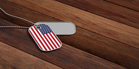 USA army concept, American flag identification tags on wooden background. 3d illustration