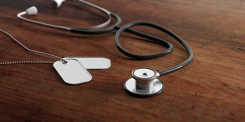 Military doctor concept. Blank identification tags and stethoscope on wooden background. 3d illustration