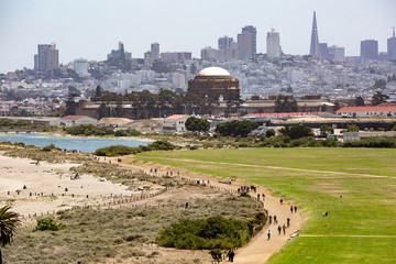 View towards Crissy Field; financial district in the background, San Francisco, California