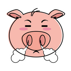 angry pig emoji kawaii vector illustration design