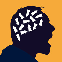 problème - difficile - difficulté - choix - stress -choisir - cerveau - stresser - concept - esprit - complexe