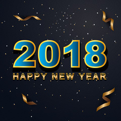 2018 Happy New Year greeting card with light, colored text Design on background texture