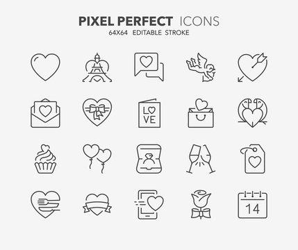 valentines thin line icons