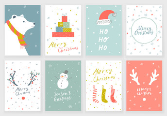 Set of 8 Christmas greeting cards with hand drawn decorative elements and lettering