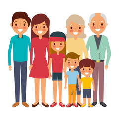 happy family parents son daughter and grandparents together vector illustration