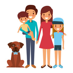 cute family dad mom little son and daughter their dog vector illustration
