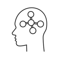 Human head with molecule linear icon