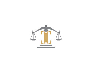 Scale of Justice and Letter C Logo Icon 3