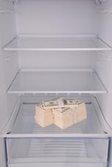 Dollars inside in empty clean refrigerator