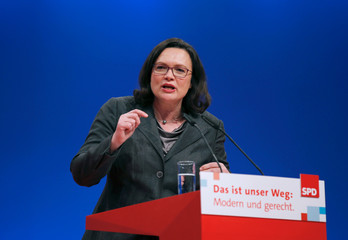 Andrea Nahles of Social Democratic Party (SPD) speaks during an SPD party convention in Berlin
