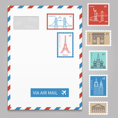 Envelope with postage stamps with line travelling city
