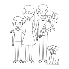 family together parents with daughter son and dog vector illustration