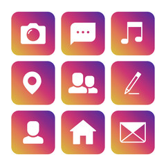 Wall Mural - Social network icons on colorful background