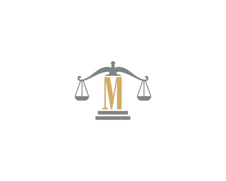 Scale of Justice and Letter M Logo Icon 3