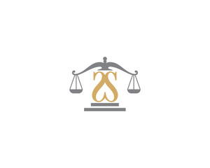 Scale of Justice and Letter S Logo Icon 3