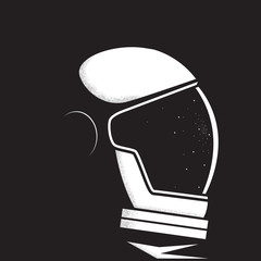 Astronaut in space. Astronaut helmet reflects stars