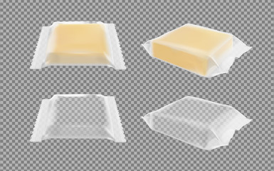 Transparent packaging with cheese or butter