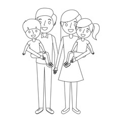 family dad with little son and mom holding daughter vector illustration outline
