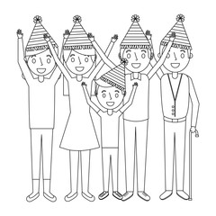 family wearing party hat with arms up birthday celebration vector illustration outline