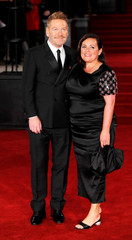 Kenneth Branagh and his wife Lindsay Brunnock arrive at the world premiere of Murder on the Orient Express at the Albert Hall in London