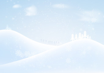 vector winter season and snow falling with snowflakes background