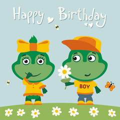 Happy birthday! Greeting card: funny frog boy gives flower to frog girl for birthday.