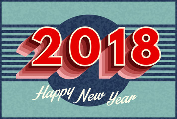 Vector 2018 Text Design retro style. for presentations, flyers, calendars, leaflets, postcards and posters. Vector illustration
