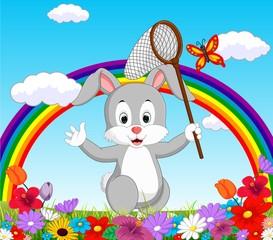 Cartoon rabbit in the garden