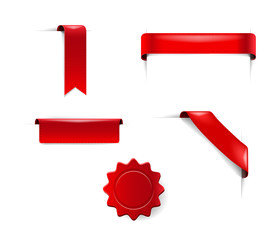 Set of red Blank stickers, tags and labels collection  vector advertisement ribbons
