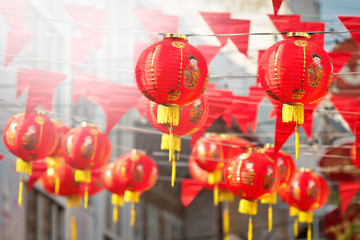 Poster de jardin Chine Chinese new year lanterns in china town.