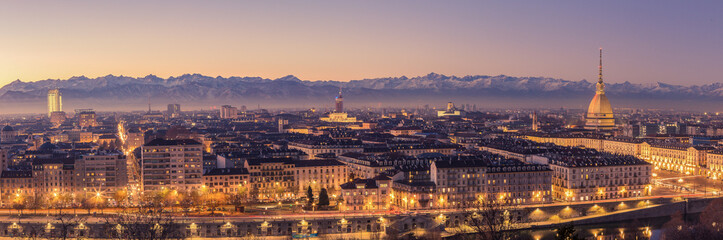 Fotobehang Lavendel Turin, Italy: cityscape at sunrise with details of the Mole Antonelliana of Torino