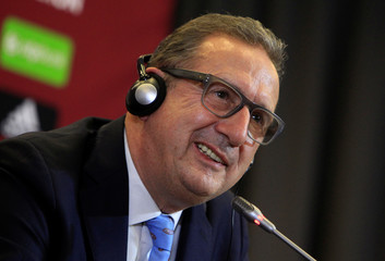 Leekens, new coach of the Hungarian national soccer team, attends a news conference in Telki