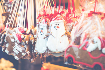 Gingerbread Hearts at German Christmas Market. Berlin, Munich. Traditional ginger bread cookies.