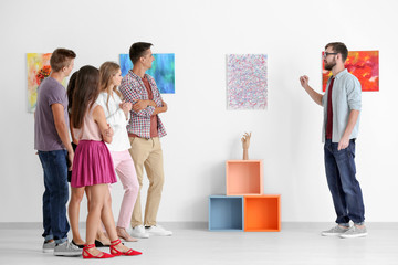 Group of people in art gallery