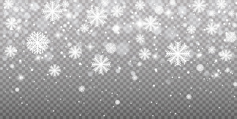 Falling snow on a transparent background. Vector illustration 10 EPS. Abstract snowflake background. Fall of snow. Wall mural