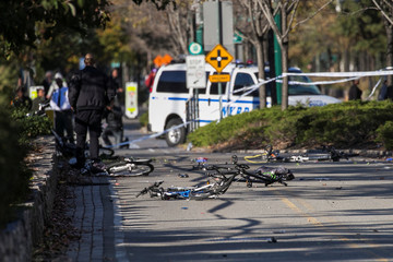 Multiple bikes are seen crushed along a bike path in Lower Manhattan in New York