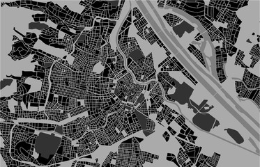 illustration map of the city of Vienna, Austria