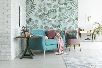 Green wallpaper in living room