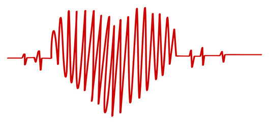 Hand drawn heart beat vector