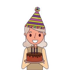 portrait elderly woman grandmother holding birthday cake vector illustration