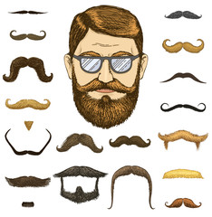 Set of mustache and funny beard. men and fashion. hipster and retro barber or hairdresser on transparent background. engraved hand drawn in old sketch, vintage style for packaging and signage.