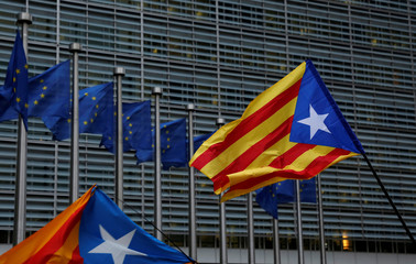 Catalan separatist flags are seen outside the headquarters of the EC as pro-independence Catalans from all over Europe take part in a rally in Brussels