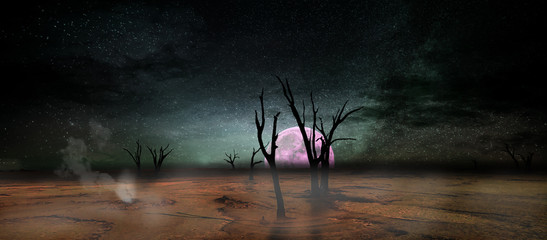 Another world / A photo rendering of another world with the moon rising behind a vast dead region with the colorful sky and stars.