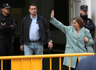 Speaker of Catalan parliament Carme Forcadell leaves Spain's Supreme Court after being summoned to testify on charges of rebellion, sedition and misuse of public funds in Madrid