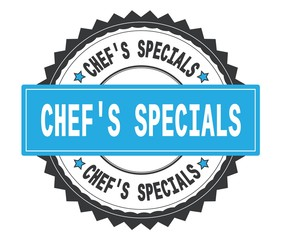CHEF'S SPECIALS text on grey and cyan round stamp, with zig zag