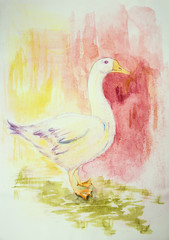 Goose on a pink and yellow background. The dabbing technique gives a soft focus effect due to the altered surface roughness of the paper.