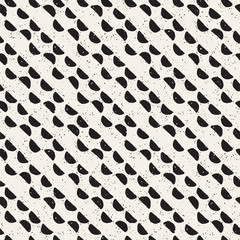 Hand drawn black and white ink abstract seamless pattern. Vector stylish texture. Monochrome geometric shappes paint brush lines