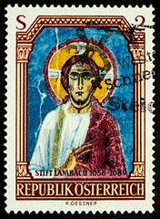 Ancient fresco of Christ on postage stamp