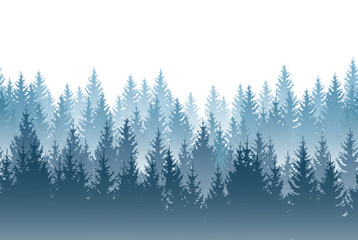 Vector misty forest landscape with detailed blue silhouettes of coniferous trees - seamless pattern